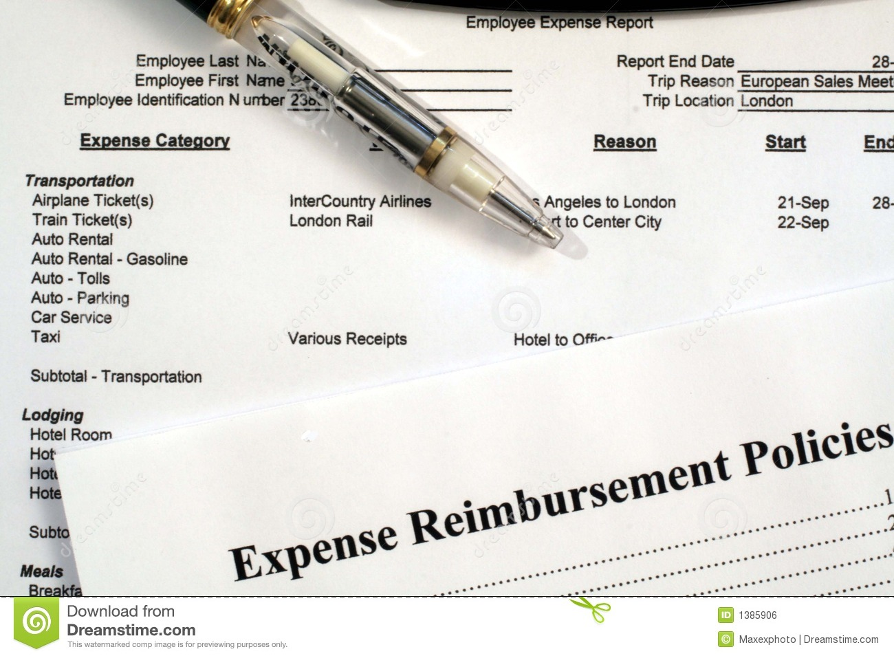 employee expense report expense reimbursement policies stock photo