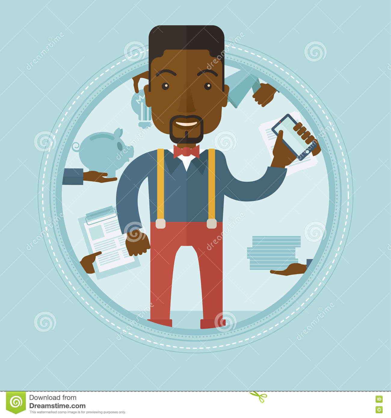 employee having lots of work to do stock vector image  employee having lots of work to do stock photo