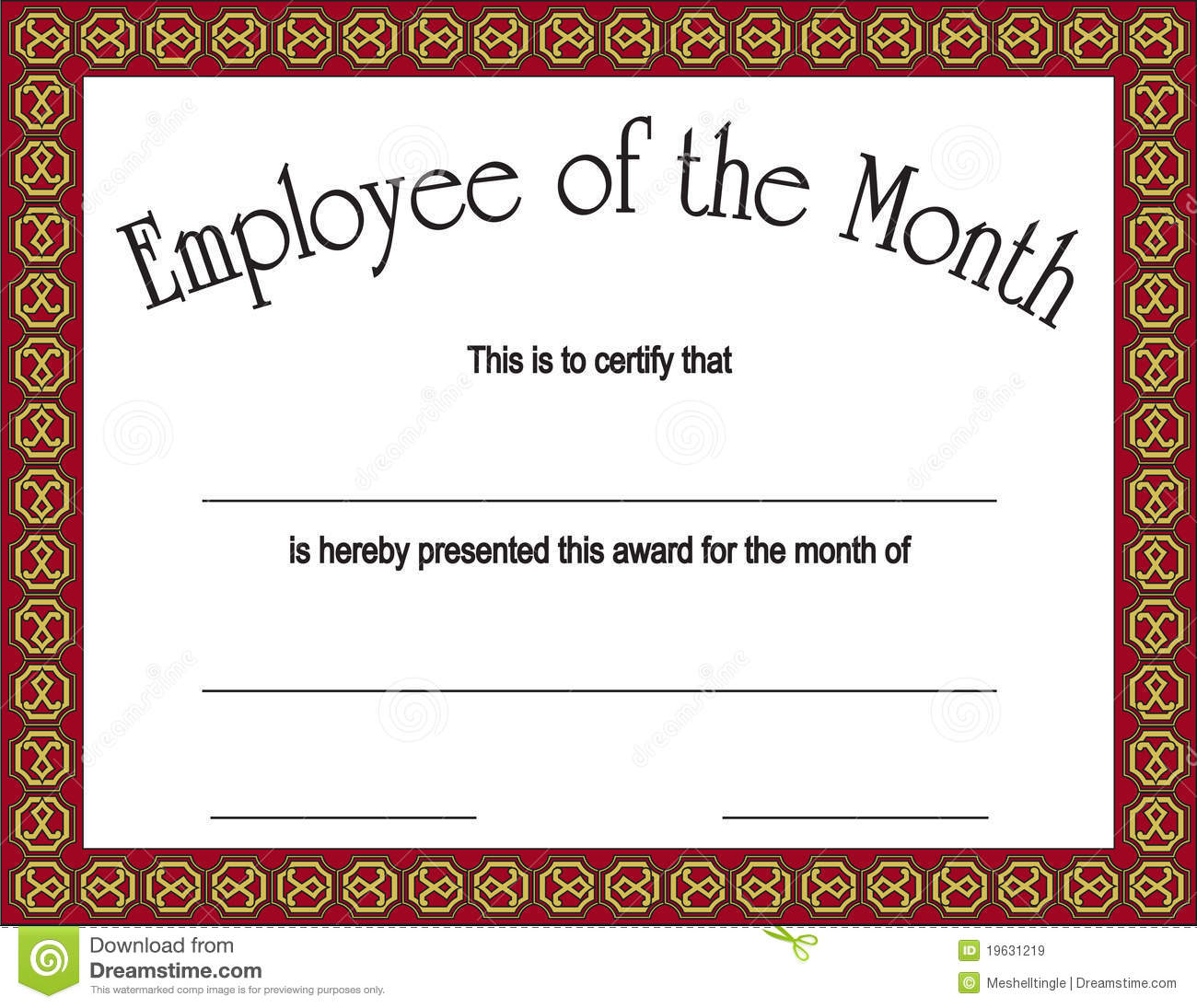 Employee Of The Month Award With  Free Employee Of The Month Certificate Template
