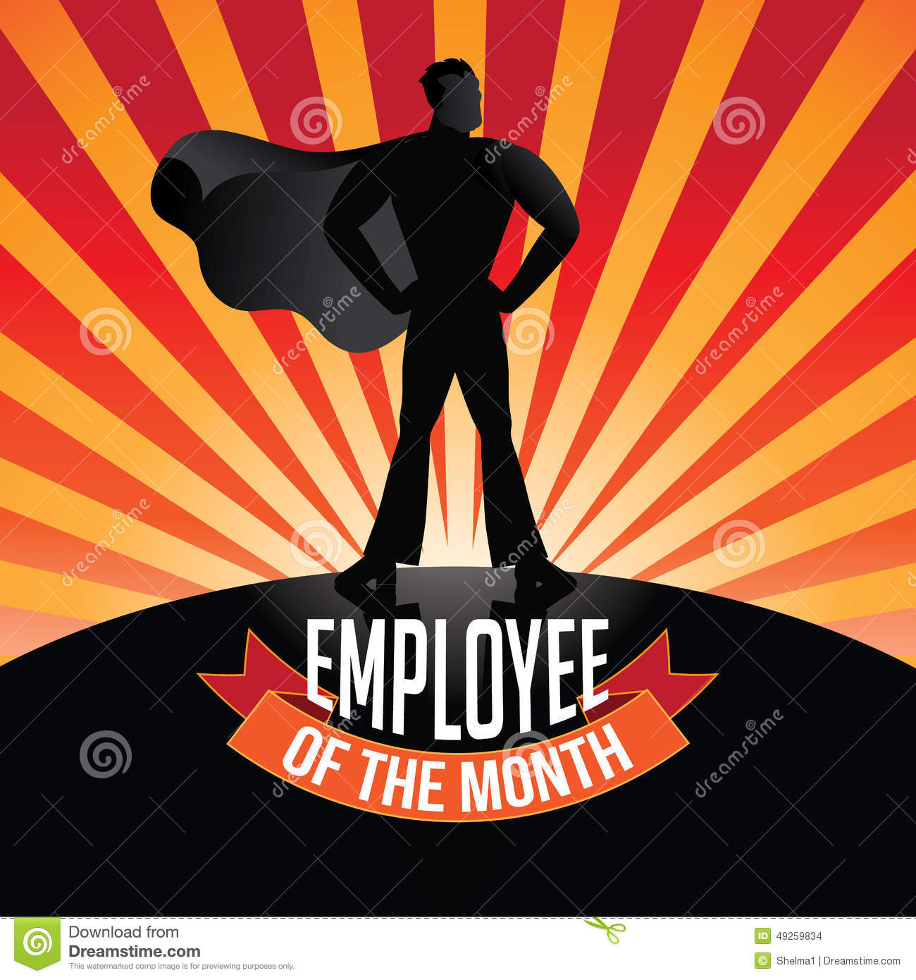 Employee Of The Month Burst Stock Vector