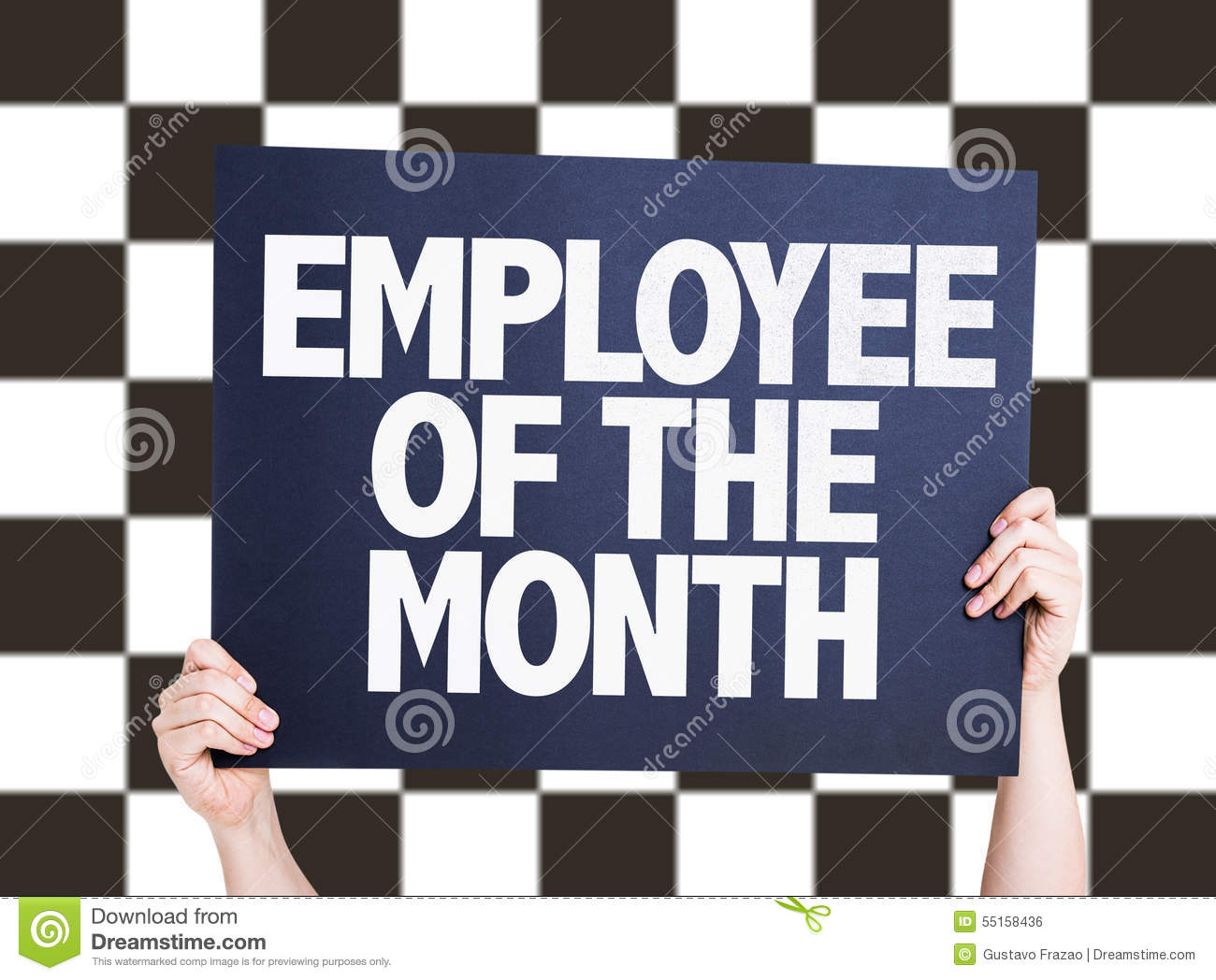 employee of the month card on checkered background stock photo