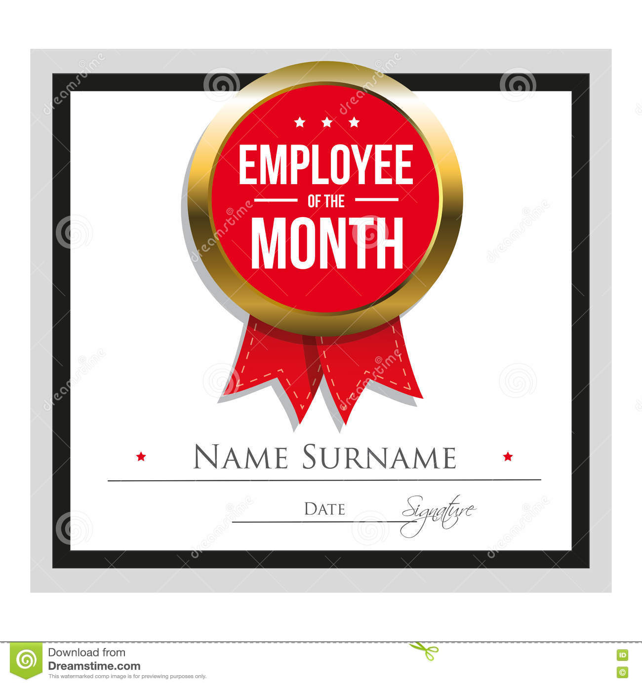 picture relating to Employee of the Month Printable Certificate identify Staff Of The Thirty day period Certification Template Inventory Vector