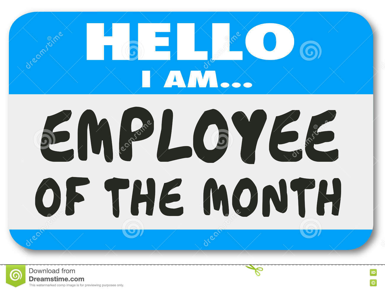 Employee Of The Month Name Tag Sticker Best Top Worker Stock