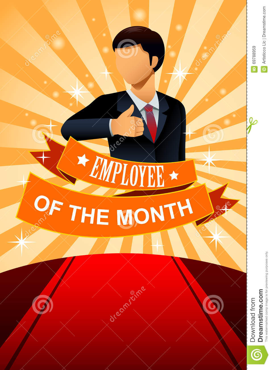 employee of the month poster frame stock vector