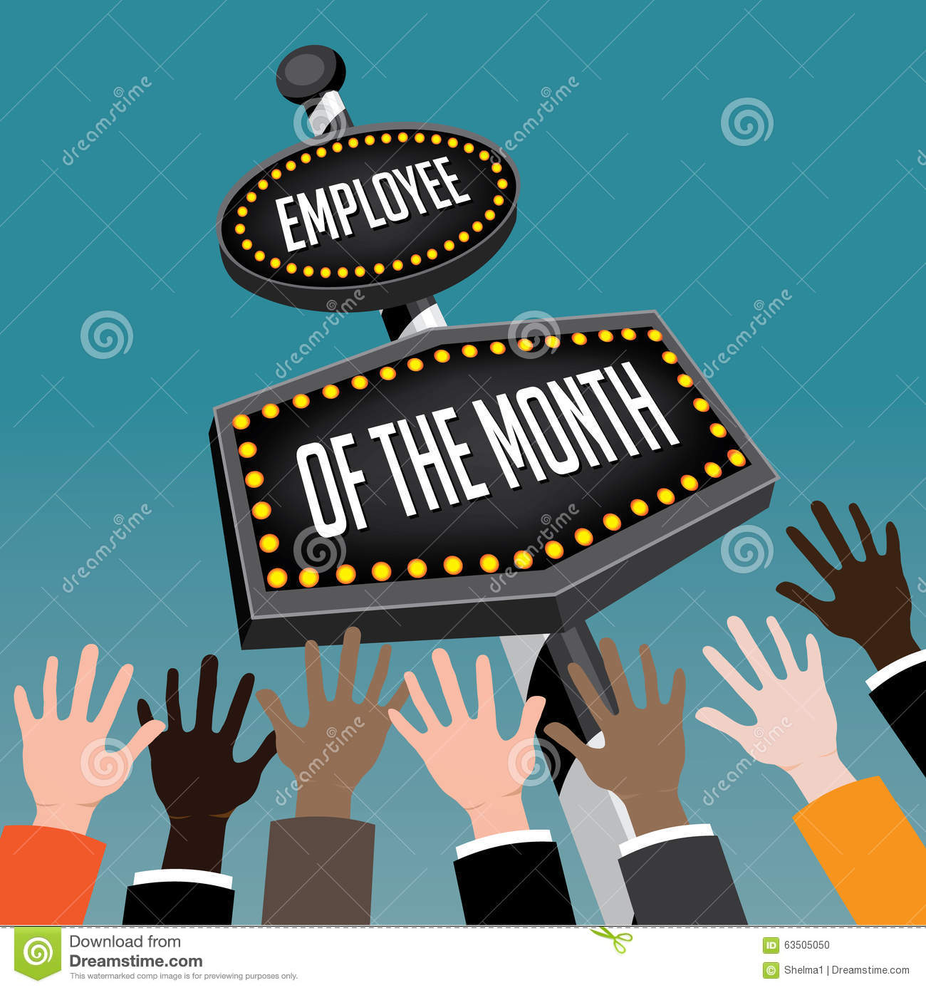 Employee Of The Month Retro Sign Stock Vector - Image: 63505050