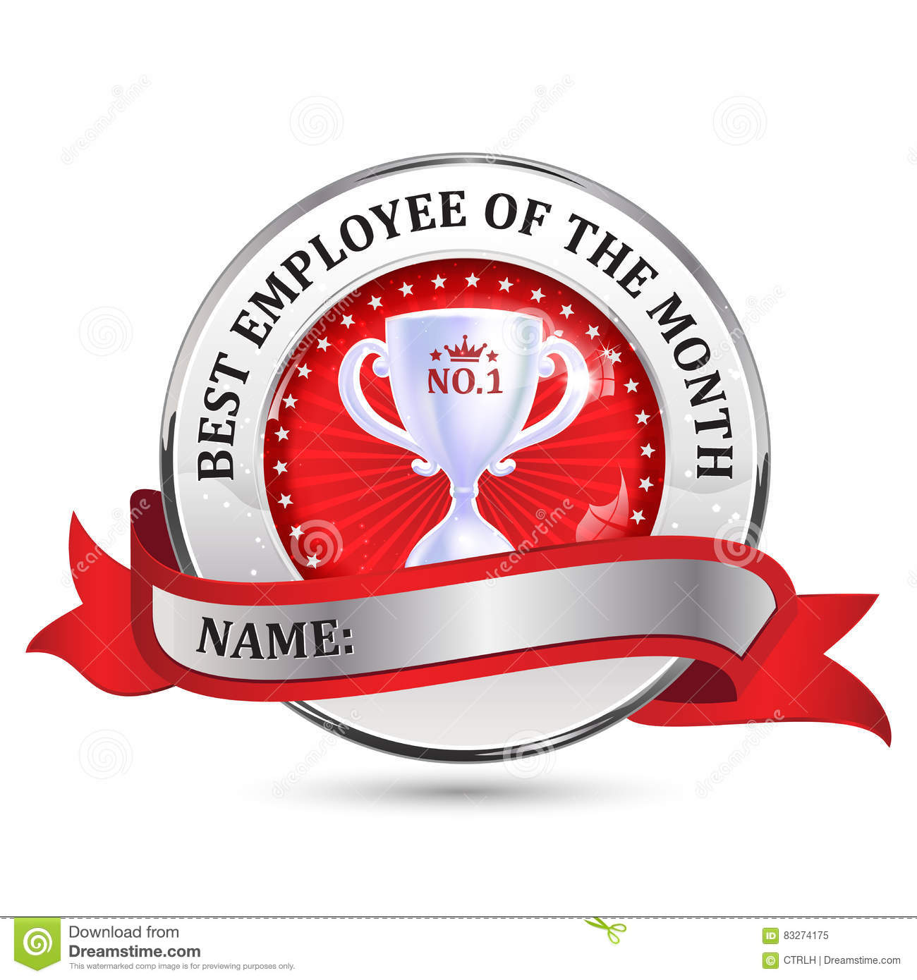 employee of the month ribbon stock vector