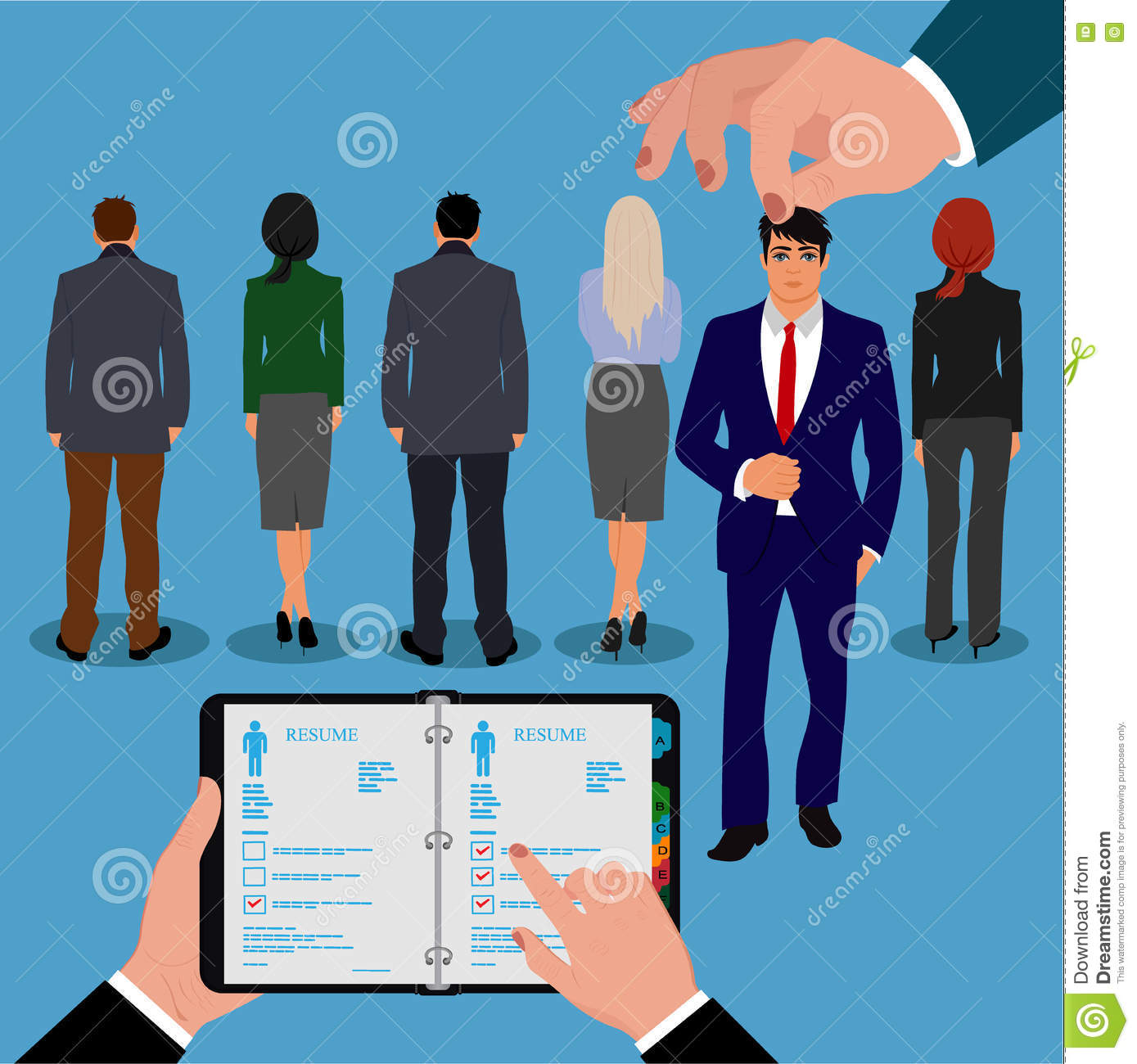 employee recruitment human resource selection interview employee recruitment human resource selection interview analysis vector illustration