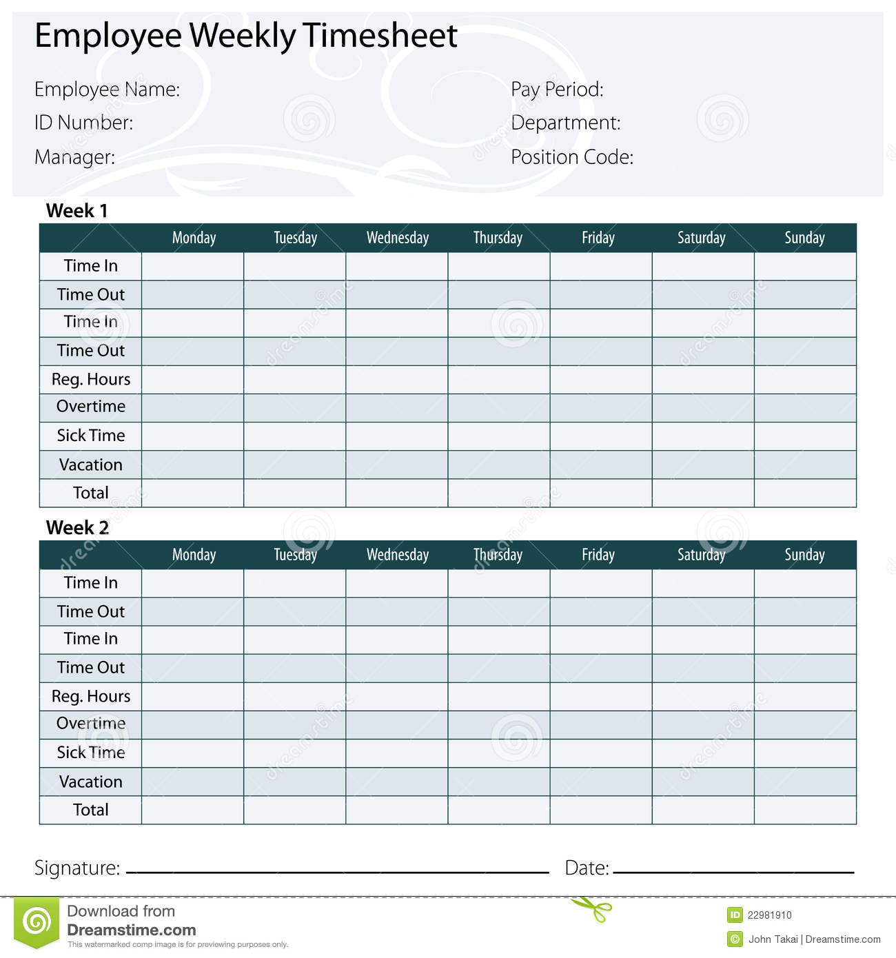 Employee Timesheet Template Stock Photo Image 22981910