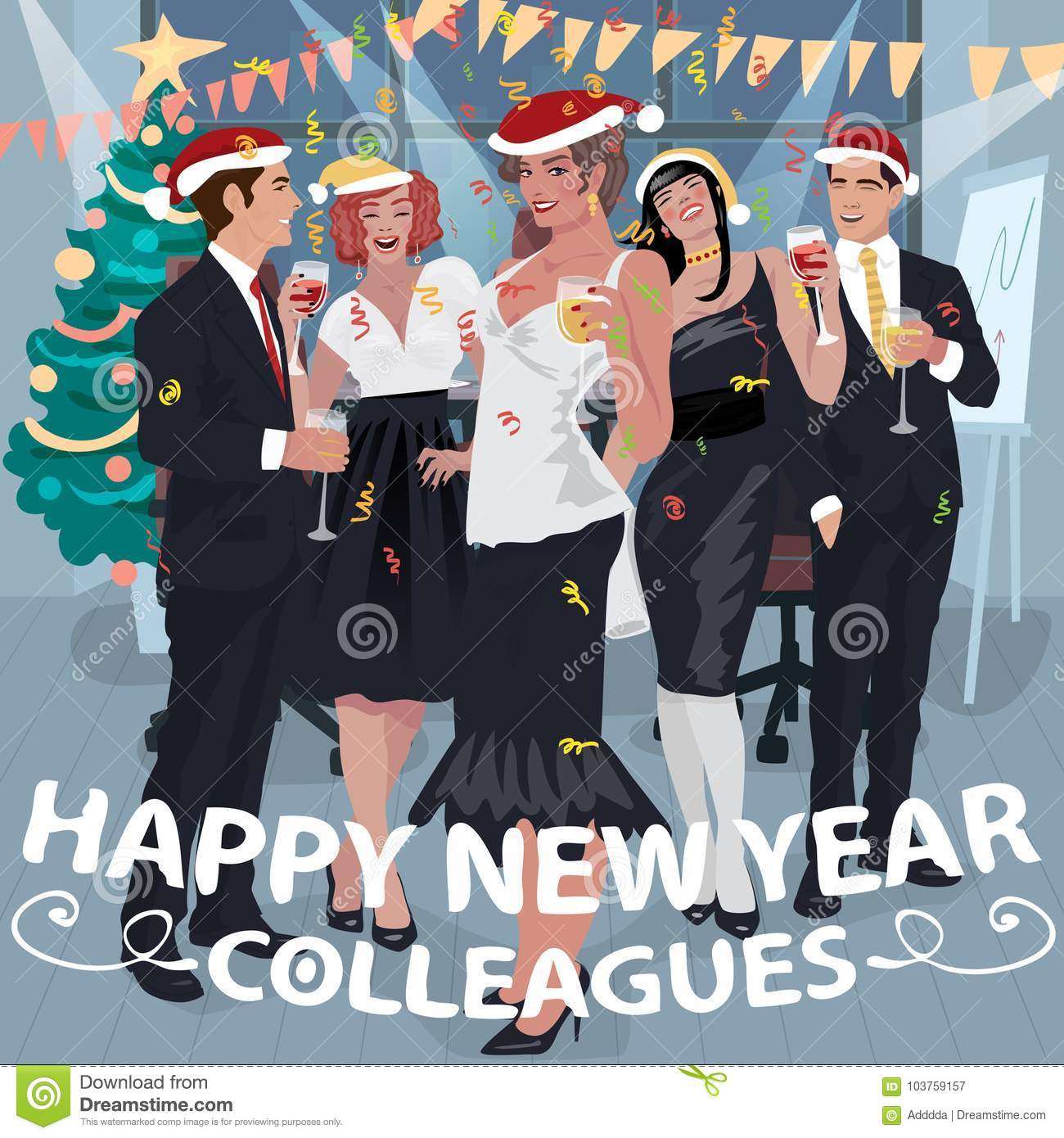 employees congratulate colleagues with new year
