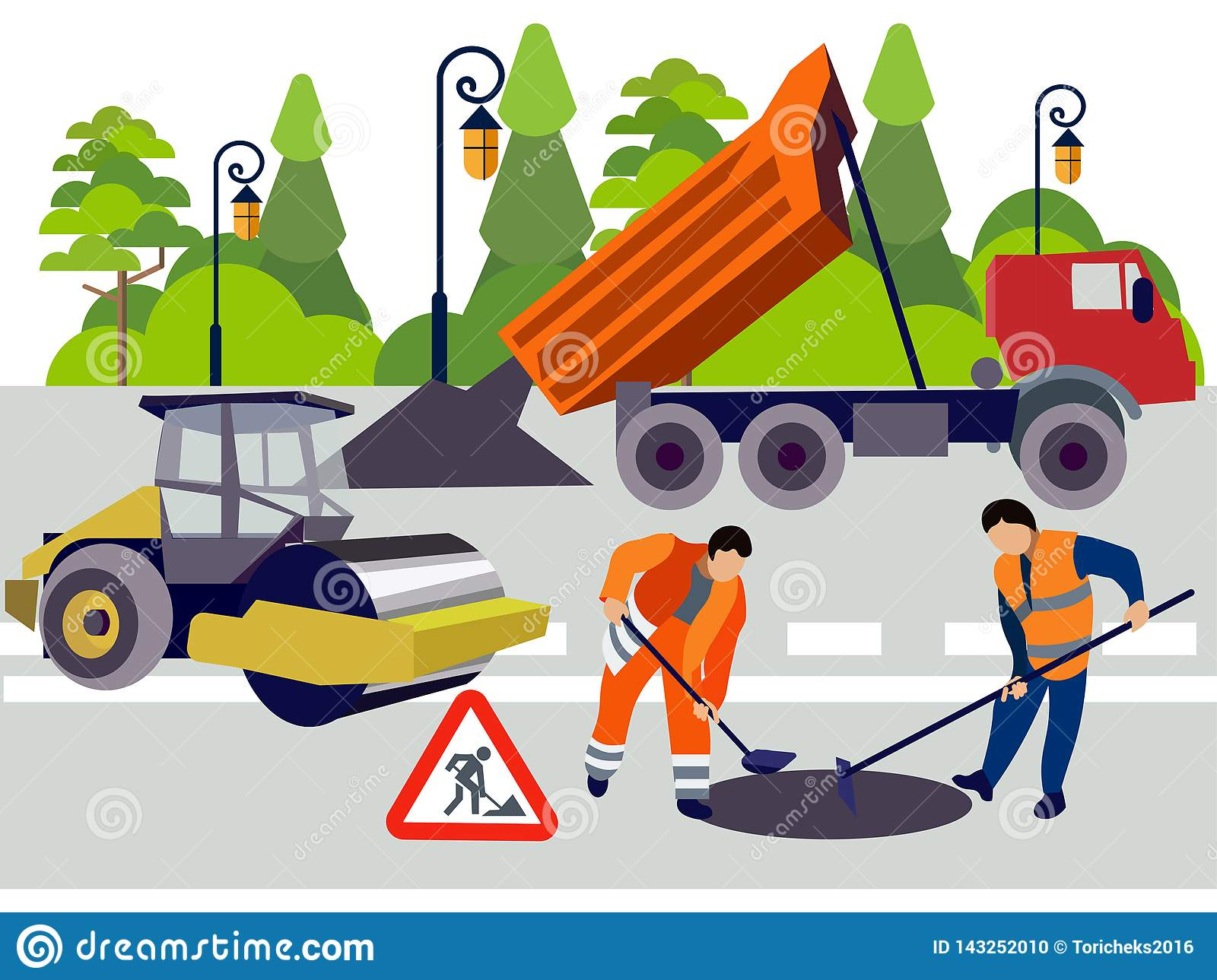 Employees of road works. Equipment and materials for repair. In minimalist style. Flat isometric vector