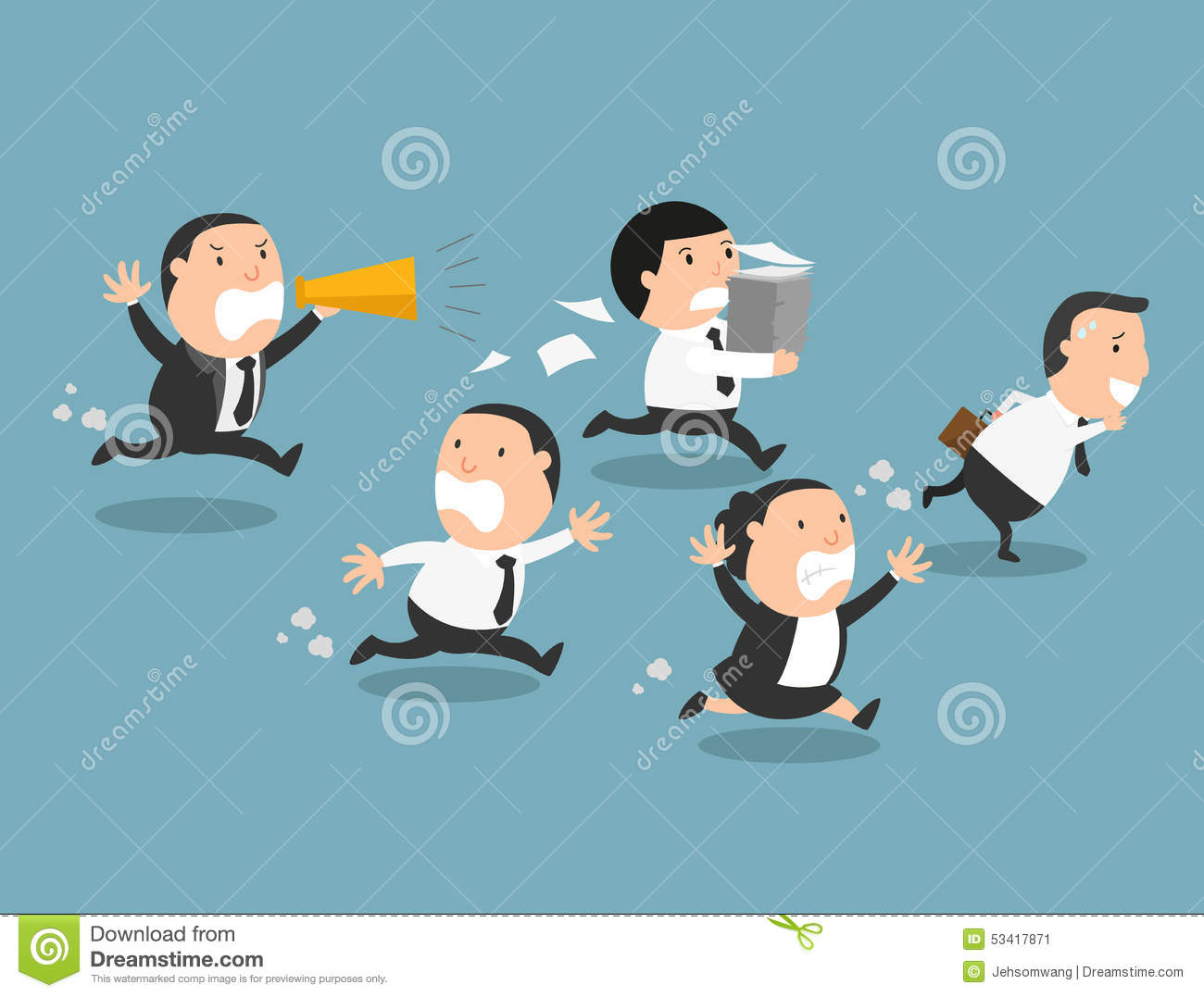 The Employees Running Away From Their Bad Boss Stock Illustration ...