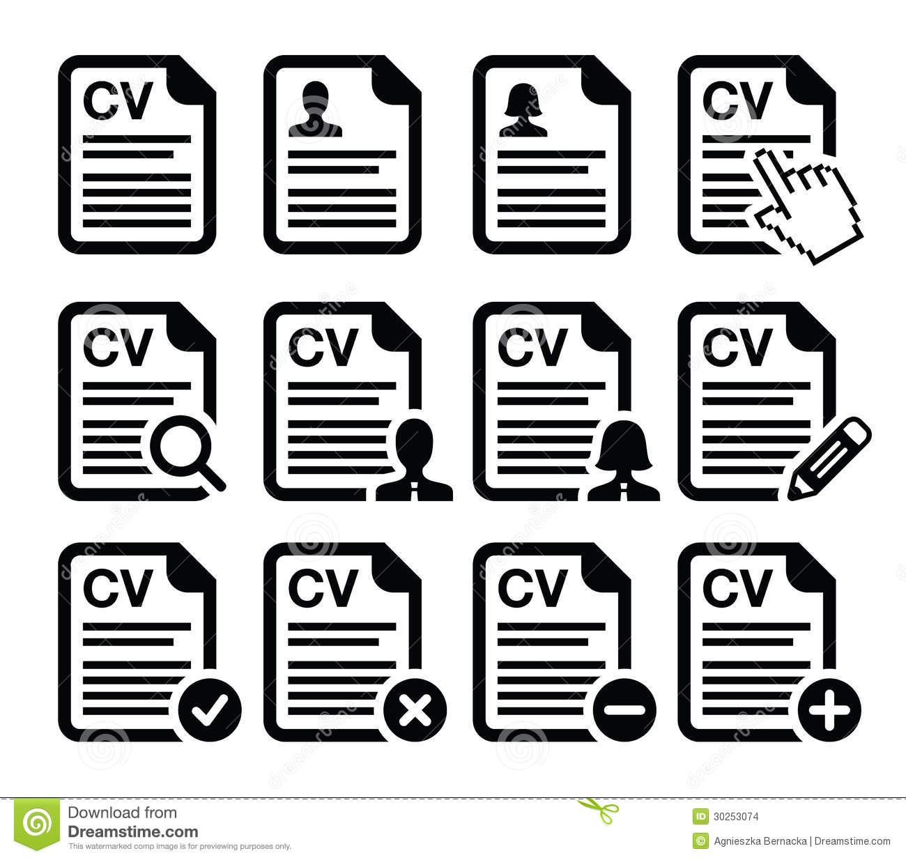 CV - Curriculum Vitae, Resume Icons Set Stock Illustration ...