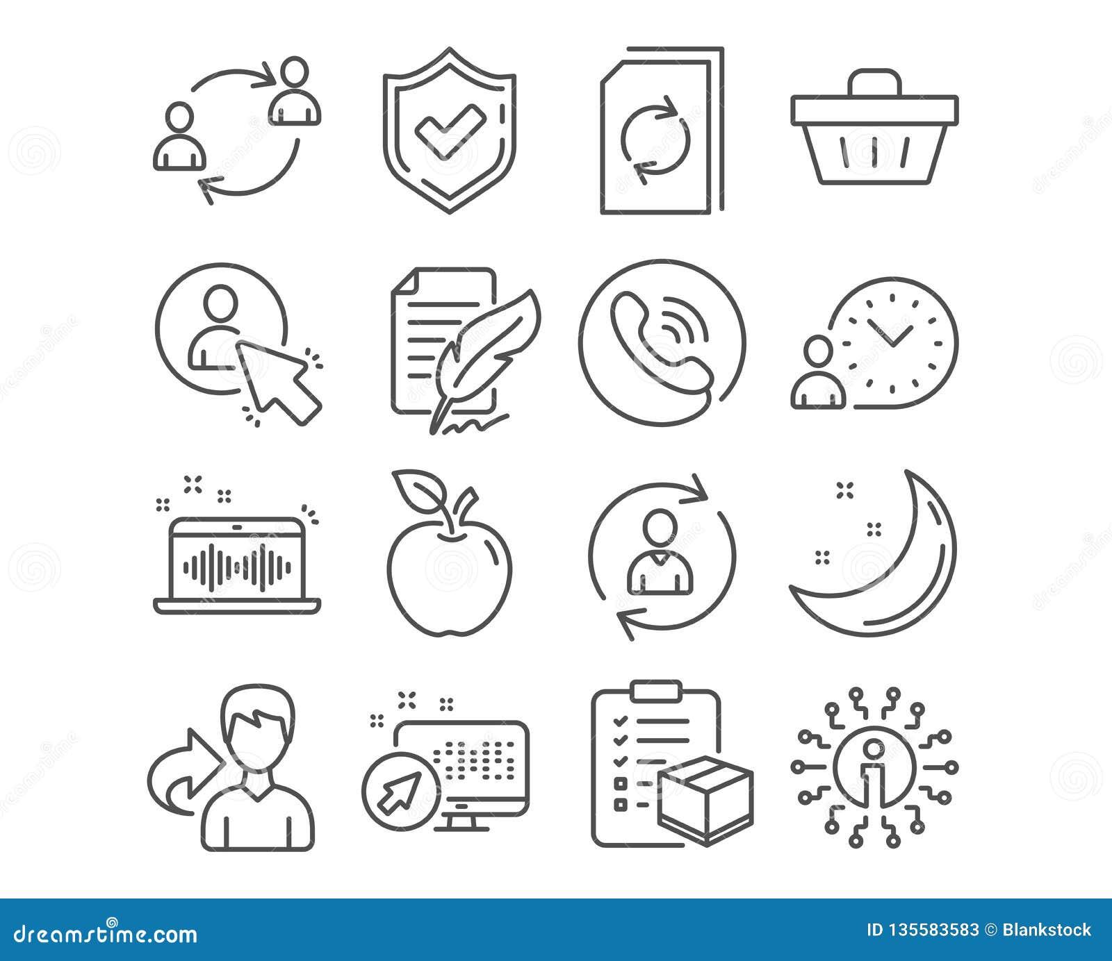 Emplume la firma, la cesta de compras y los iconos de la información de la persona La comunicación del usuario, del usuario y la