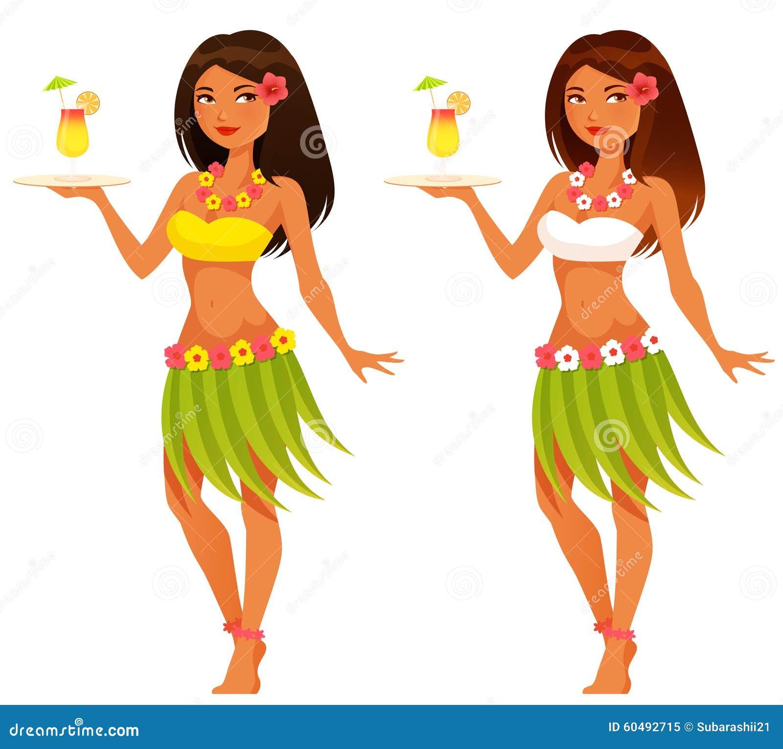Empregada de mesa havaiana que serve um suco de fruta