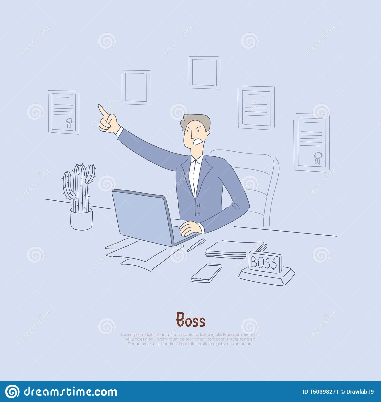 Empregador que dá para fora os comandos, trabalhador de escritório louco no terno, proprietário no escritório, corretor conservad