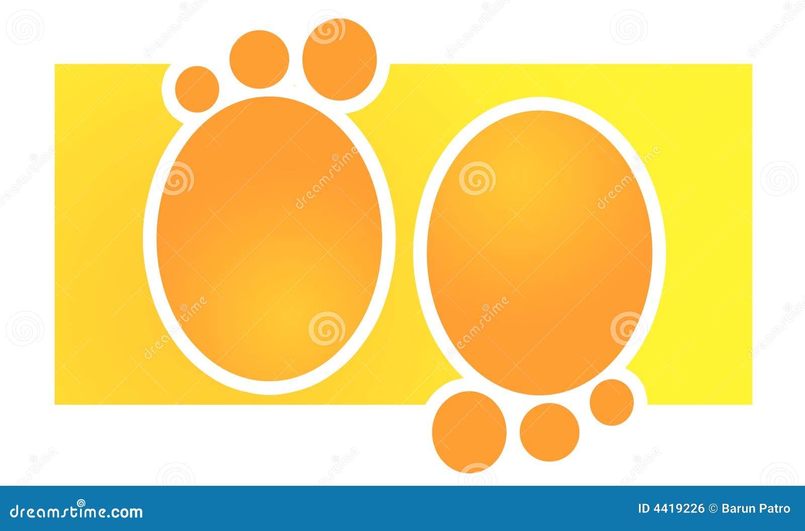Empreintes de pas oranges