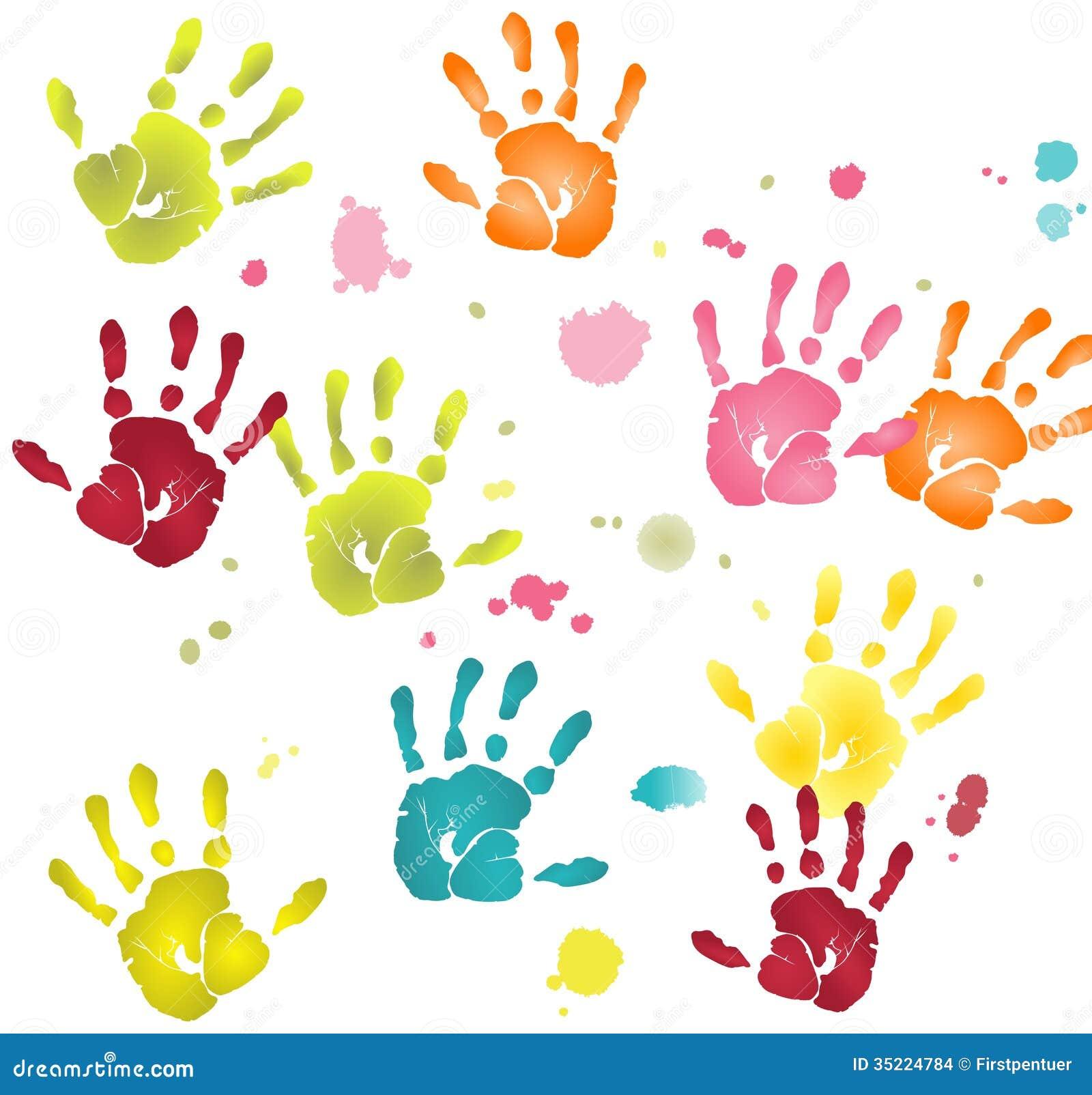 Empreintes plates color es de mains avec des taches de peinture illustration stock image 35224784 - Peinture main enfant ...