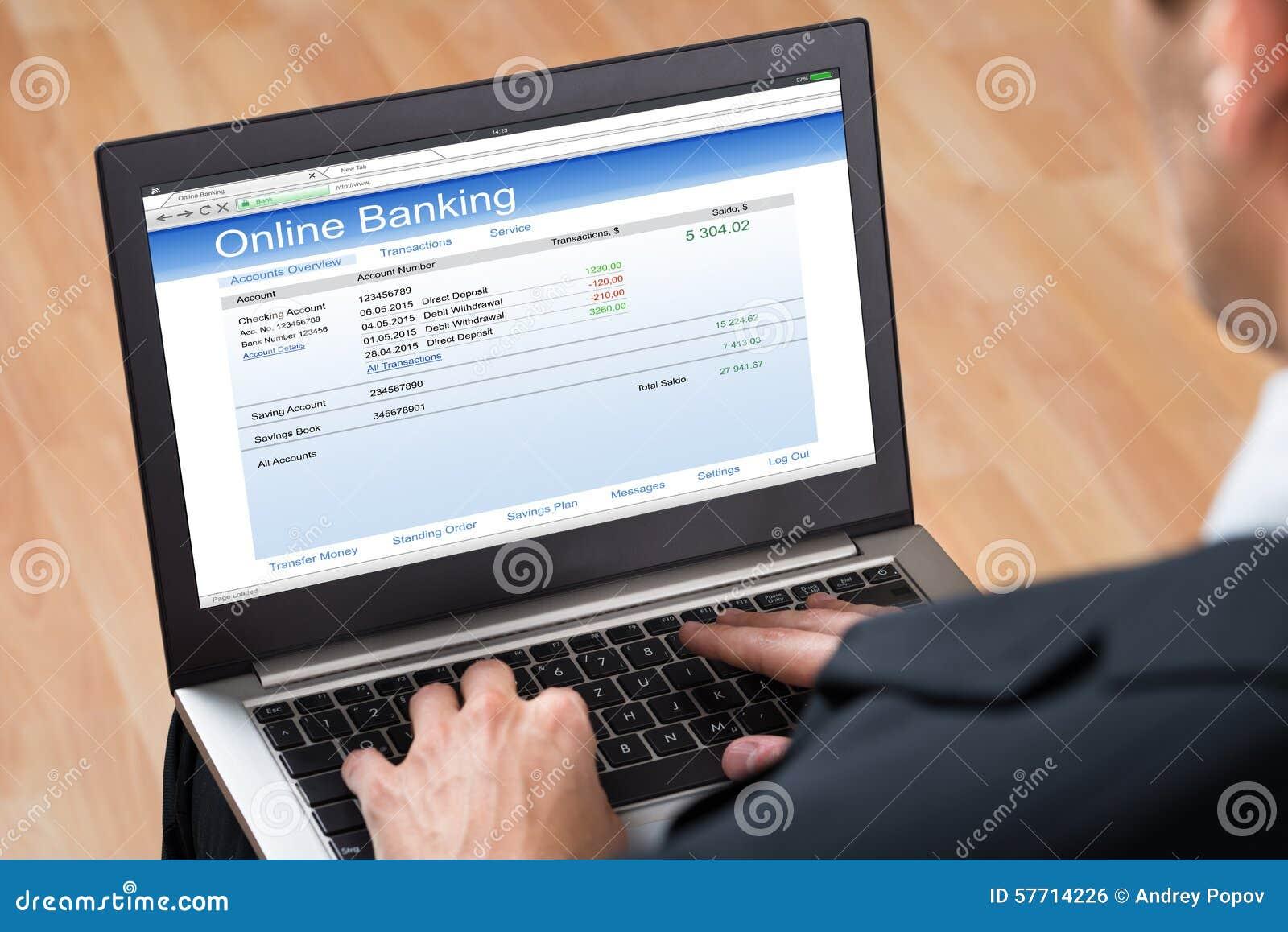 Empresário Doing Online Banking