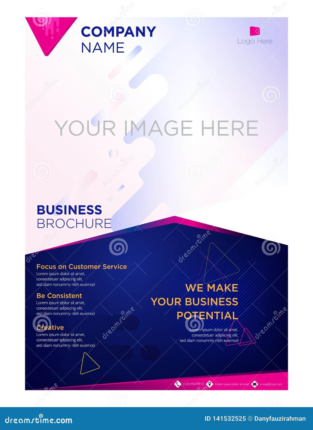 Empresa de negocios del aviador del folleto y azul violeta corporativo