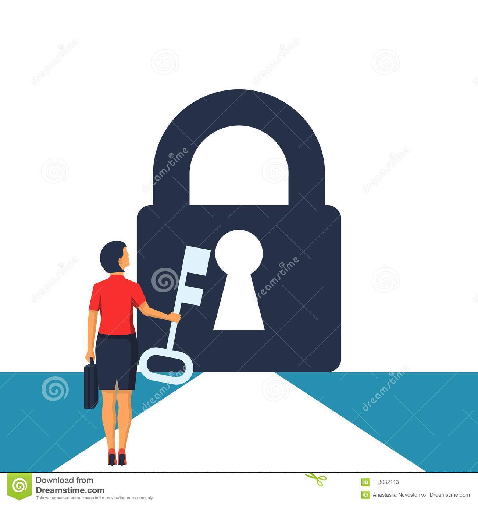 Empresaria con llave a disposición