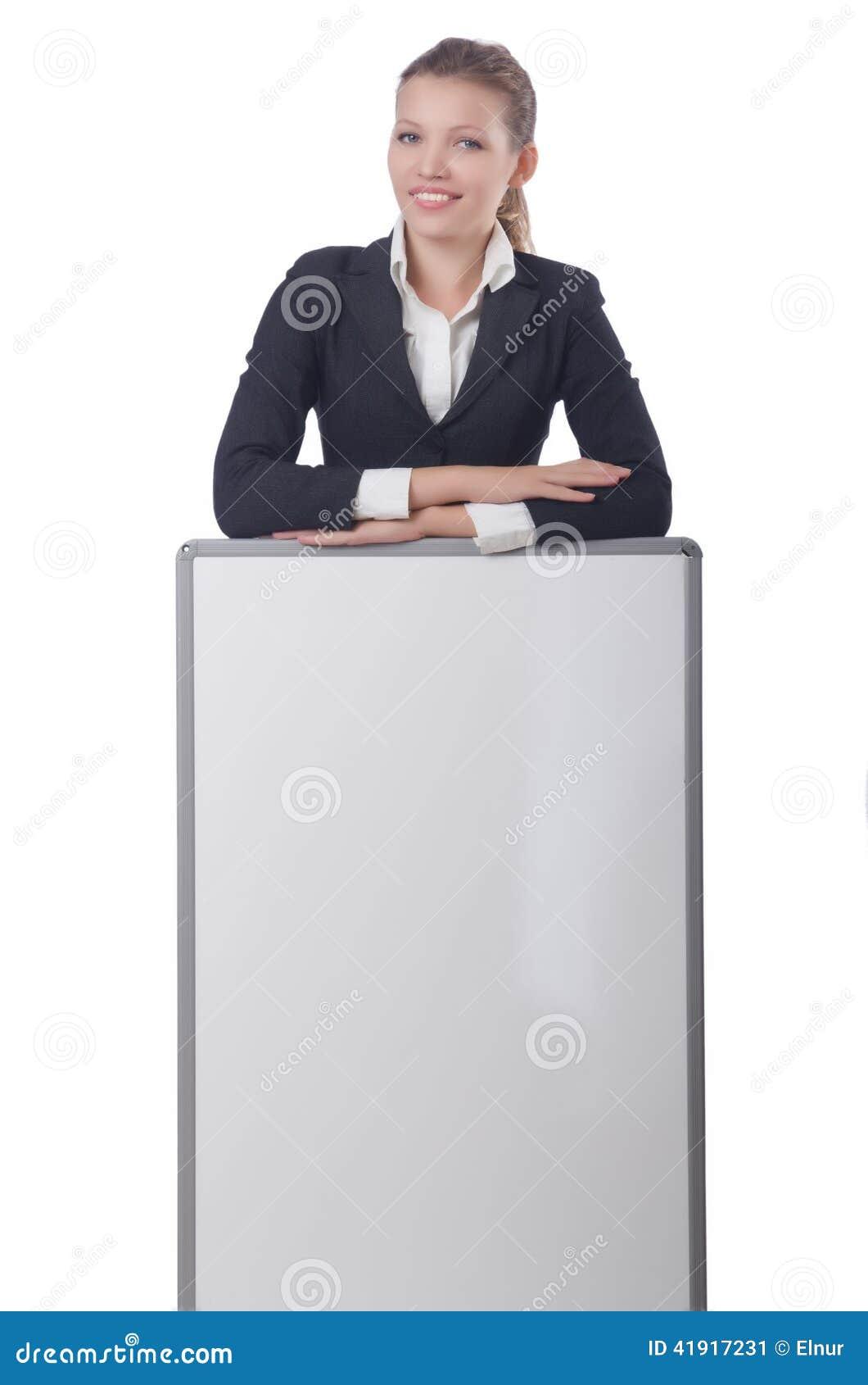 Empresaria de la mujer con el tablero en blanco