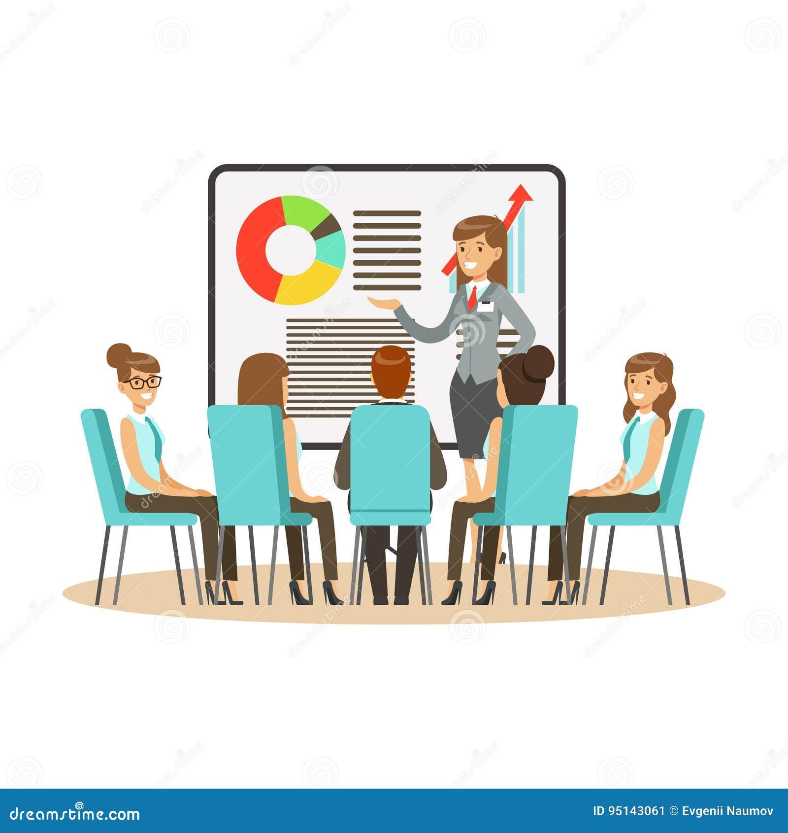 Empresaria en el traje que hace la presentación y que explica la carta en un whiteboard, reunión de negocios en un vector de la o