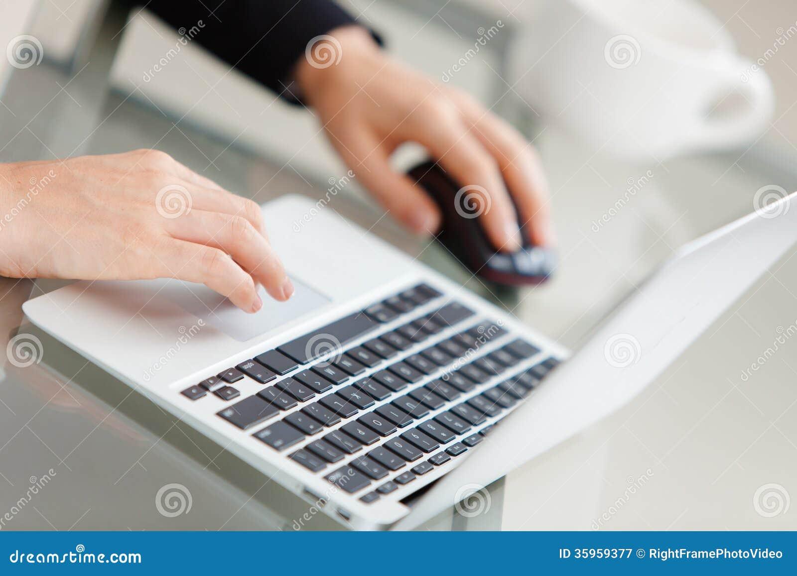 Empresaria joven hermosa que usa el ordenador portátil
