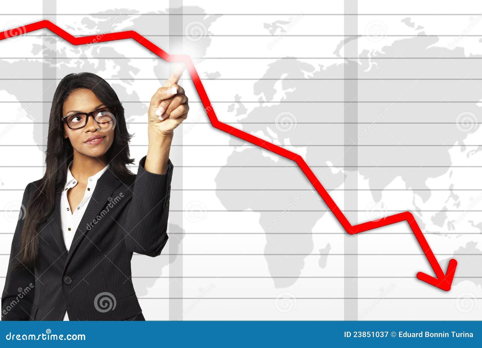 Empresaria joven que señala en un gráfico de asunto