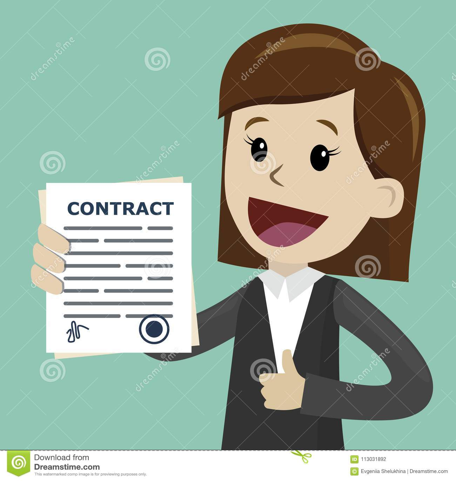 Empresaria que lleva a cabo un contrato con la firma Buen reparto Feliz, sonrisa