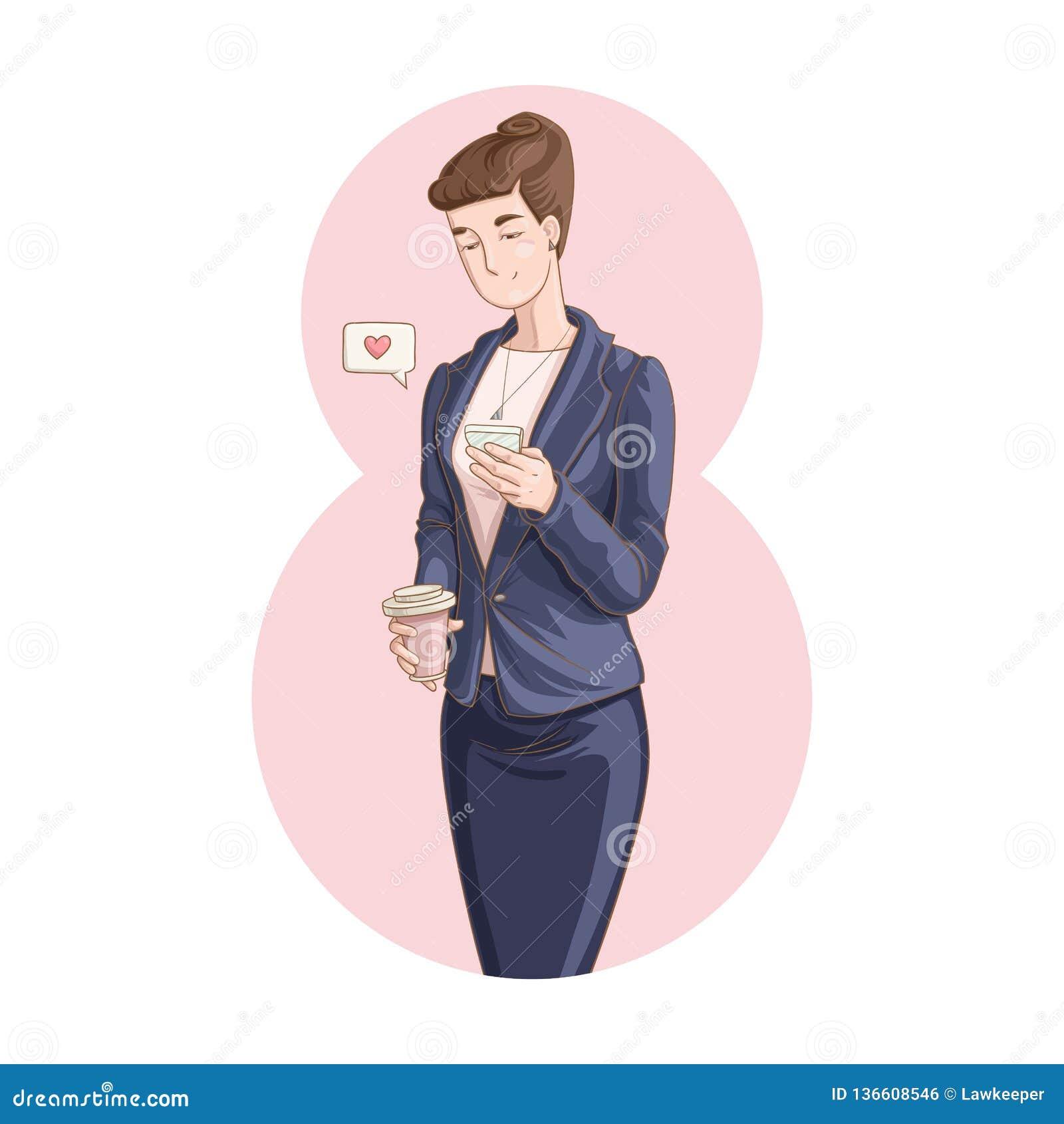 Empresaria que sostiene una taza de café y que usa el teléfono móvil