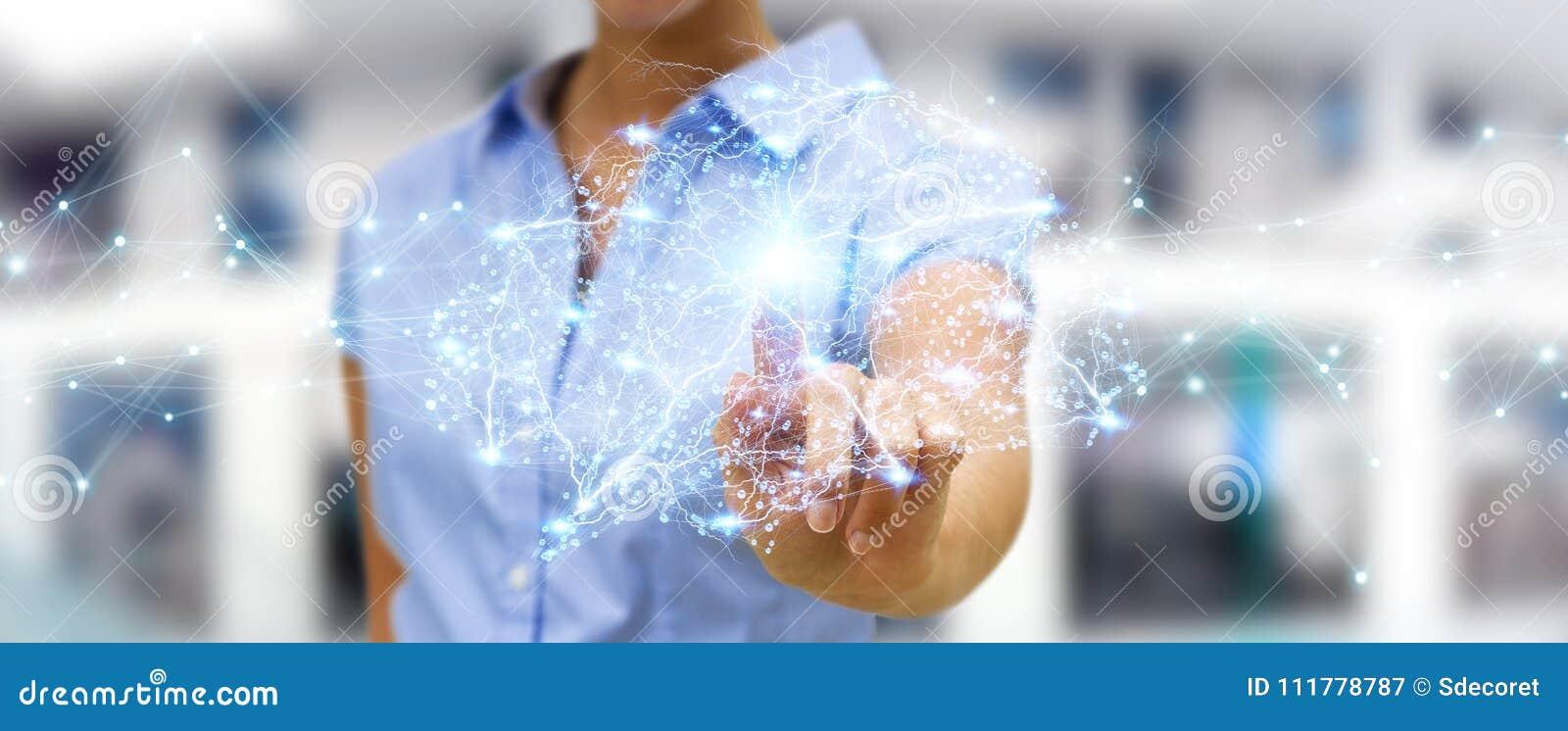 Empresaria que usa el rende digital del interfaz 3D del cerebro humano de la radiografía