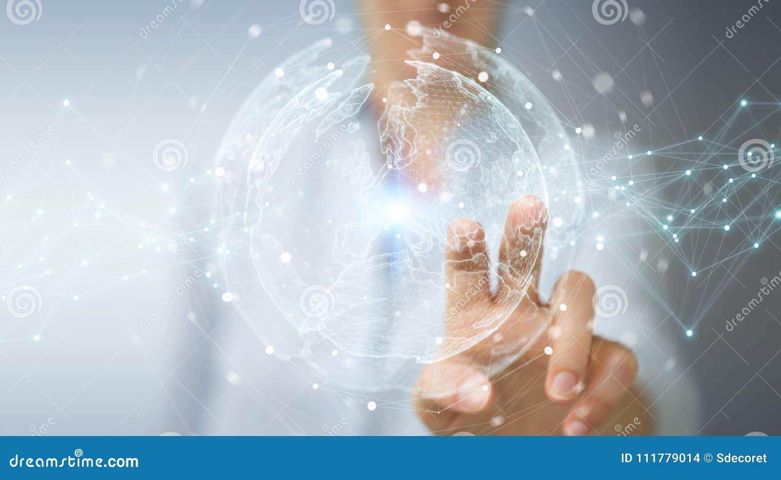 Empresaria que usa la representación de la esfera 3D de la red de la tierra del planeta