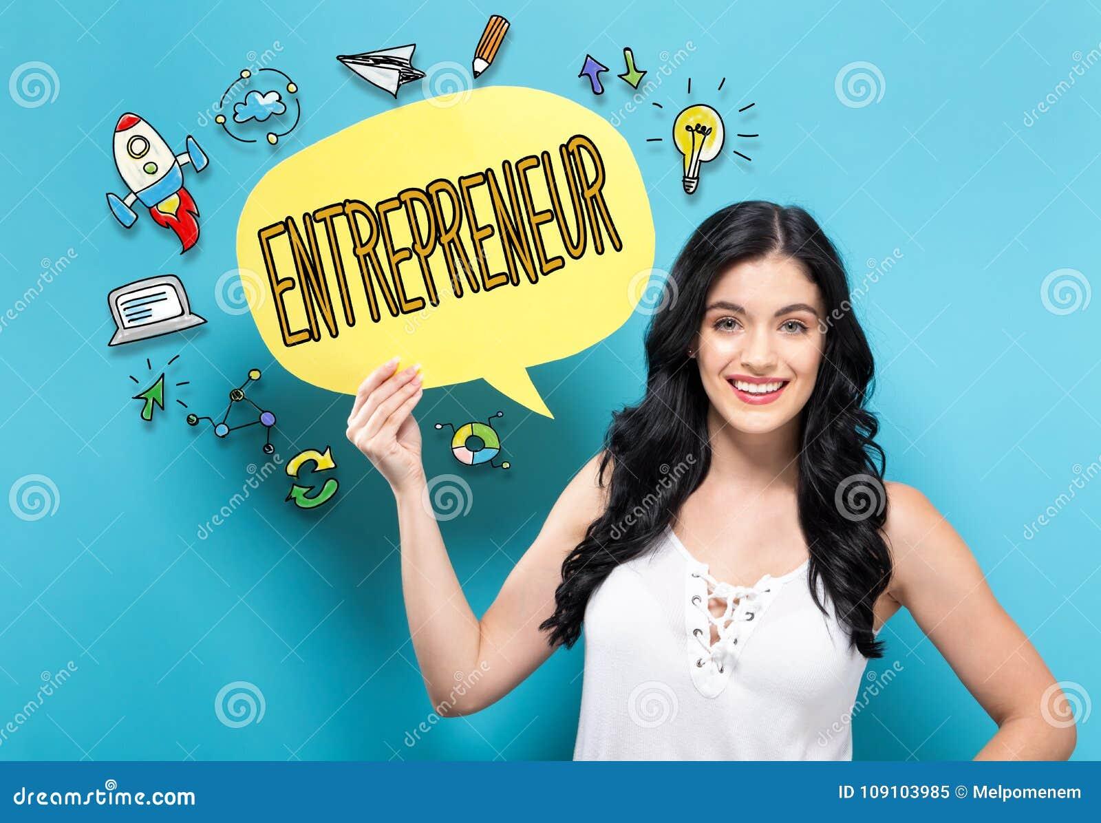 Empresario con la mujer que lleva a cabo una burbuja del discurso