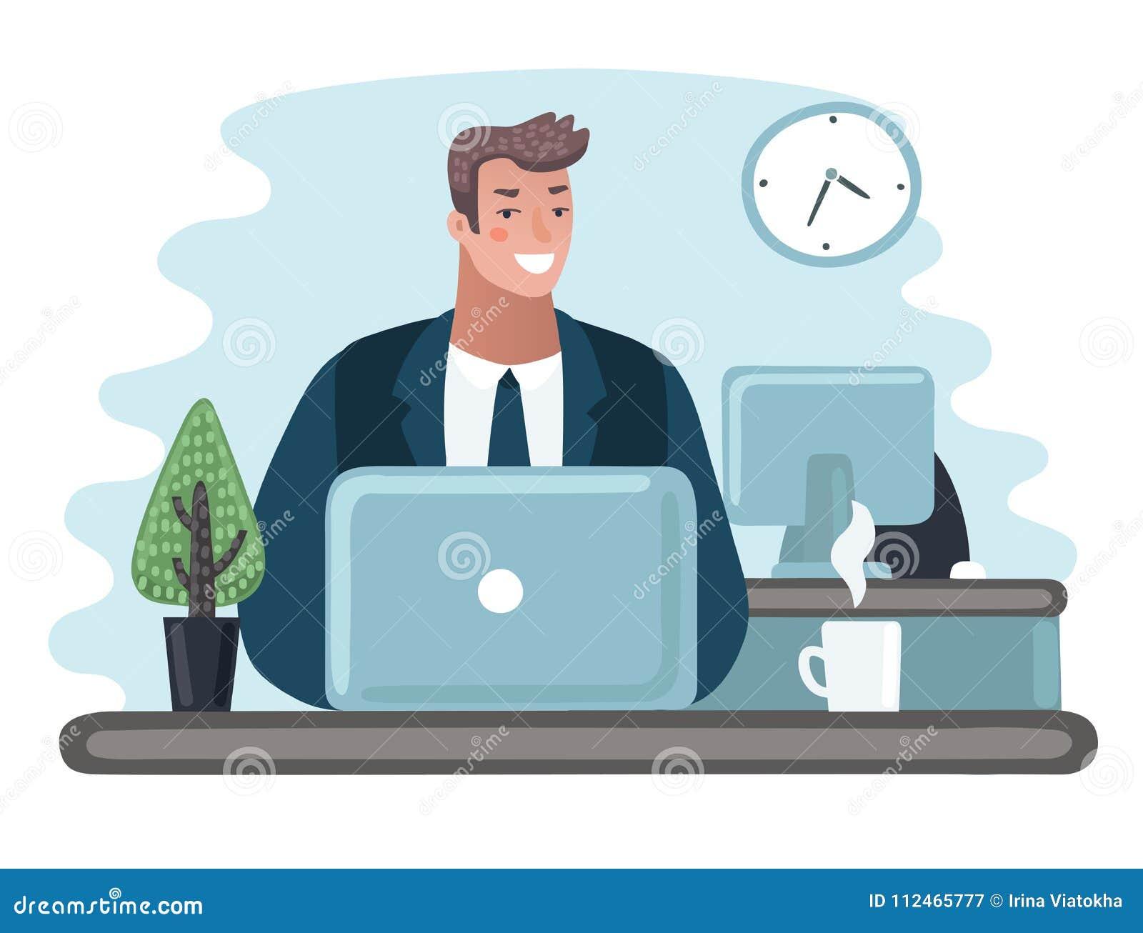 Empresario del hombre de negocios en un traje que trabaja en un ordenador portátil en su escritorio de oficina limpio y liso