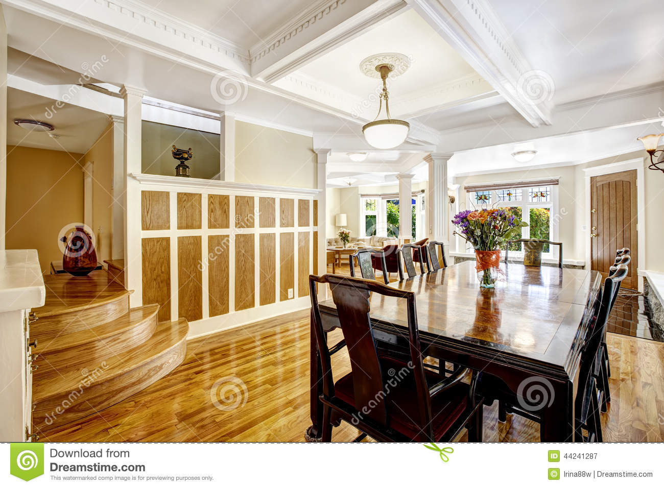 Empressive Dining Room Interior Luxury House With Wood  : empressive dining room interior luxury house wood trim spacious hardwood floor wall coffered ceiling brown white 44241287 from dreamstime.com size 1300 x 956 jpeg 190kB