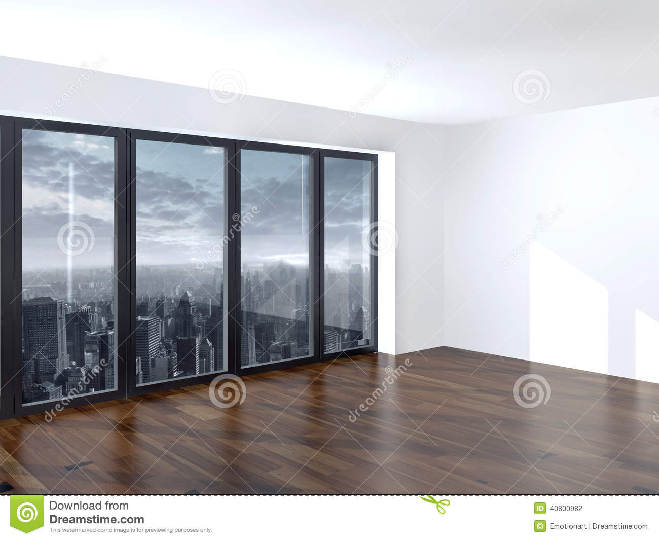 empty apartment living room with a view window stock