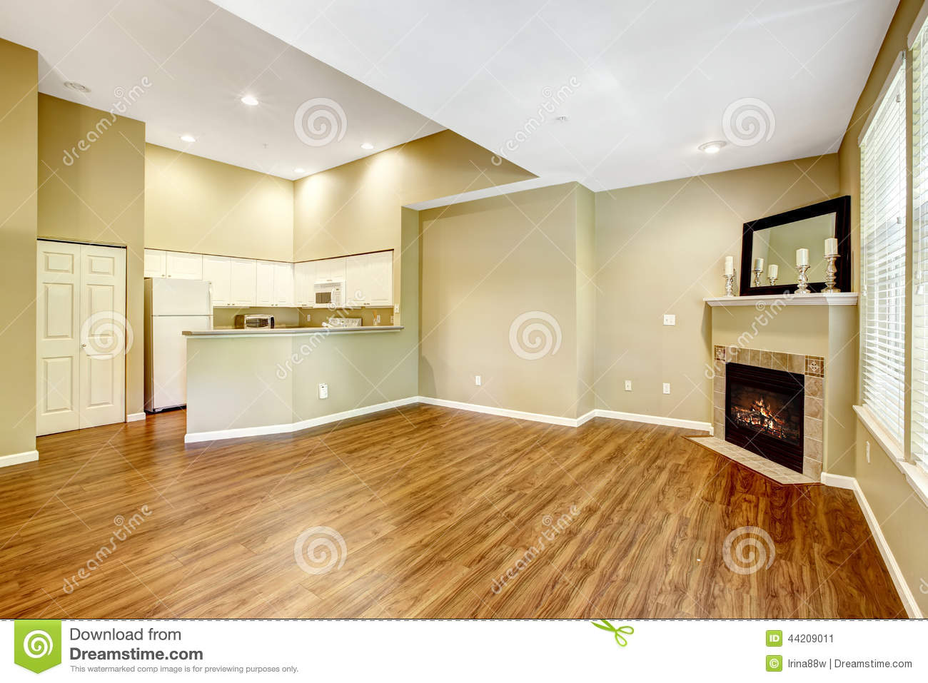 Empty Apartment With Open Floor Plan Living Room Fireplac Stock Image