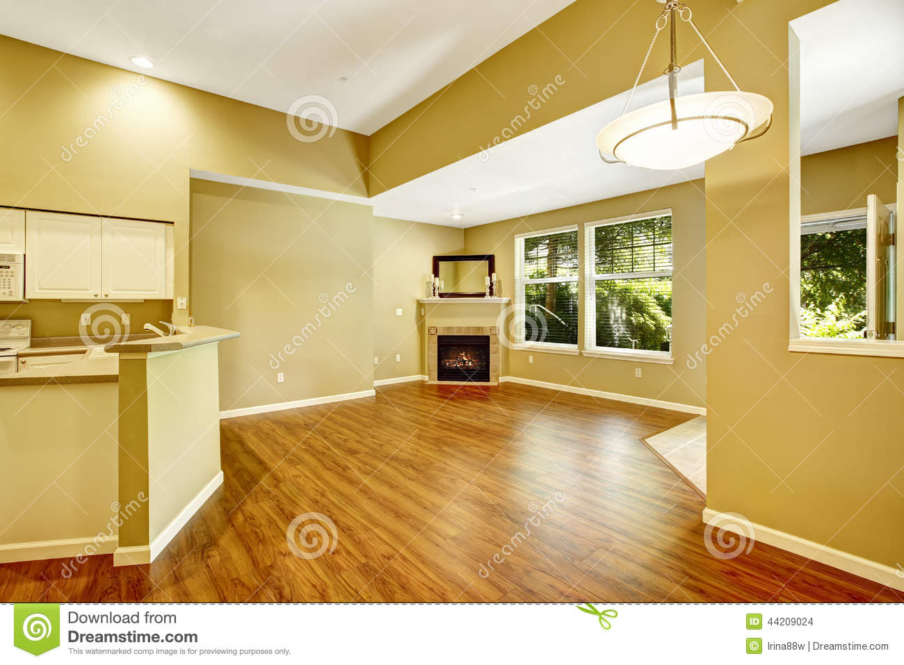 empty apartment with open floor plan living room with fireplac stock photo image of estate