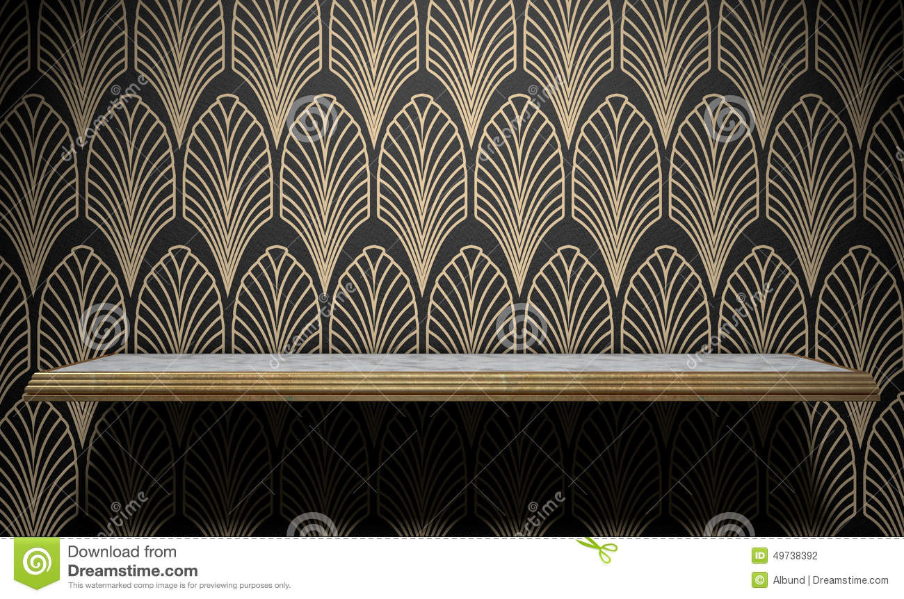 an empty marble and gold trimmed shelf on a wall clad in art deco