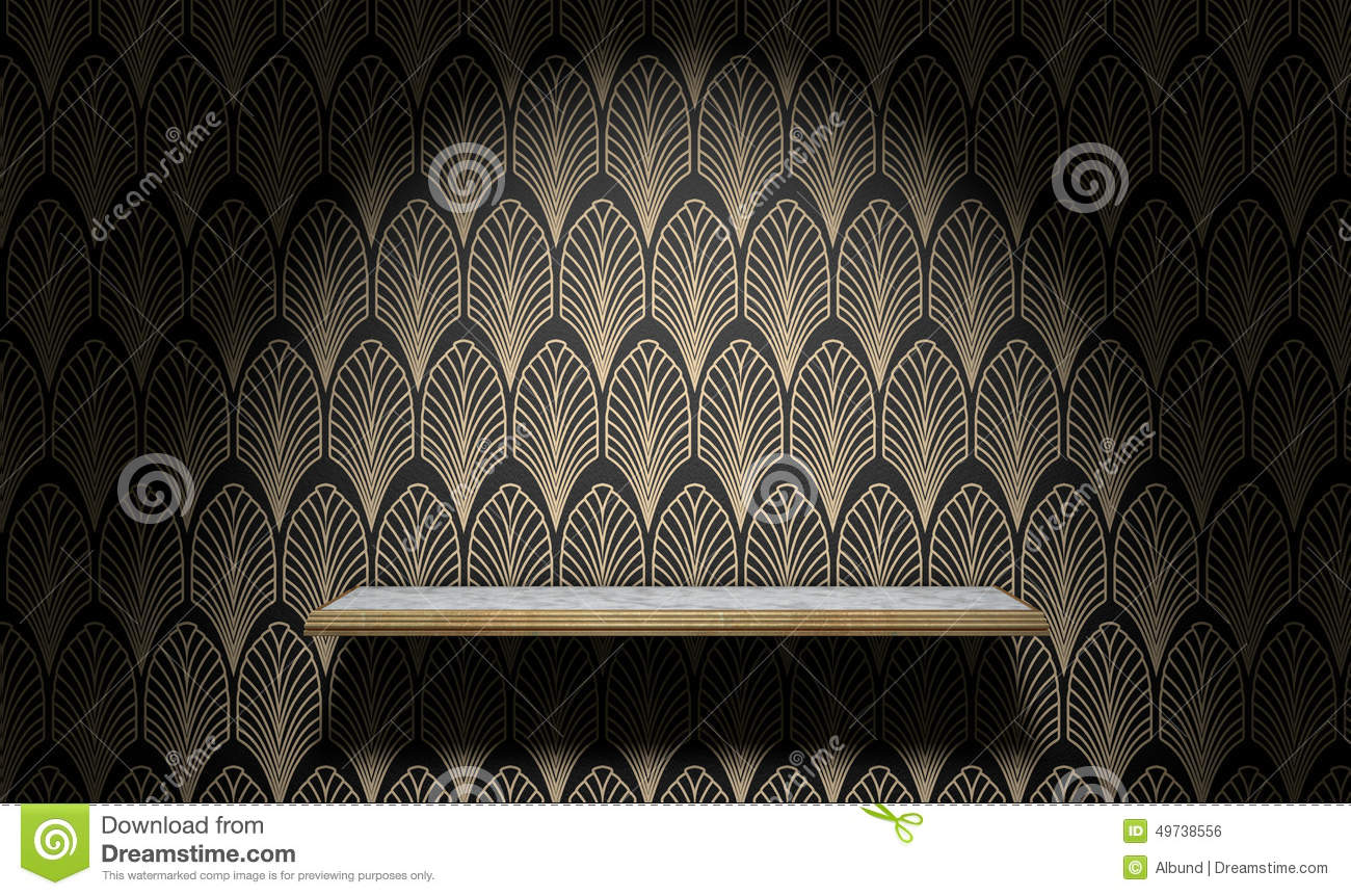 Empty art deco shelf on wall stock illustration image for Wall and deco