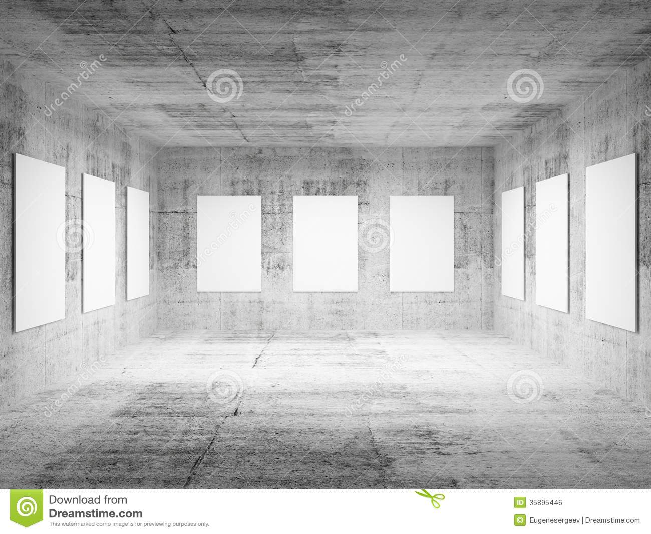Empty art gallery concrete hall 3d interior stock for Drawing hall interior