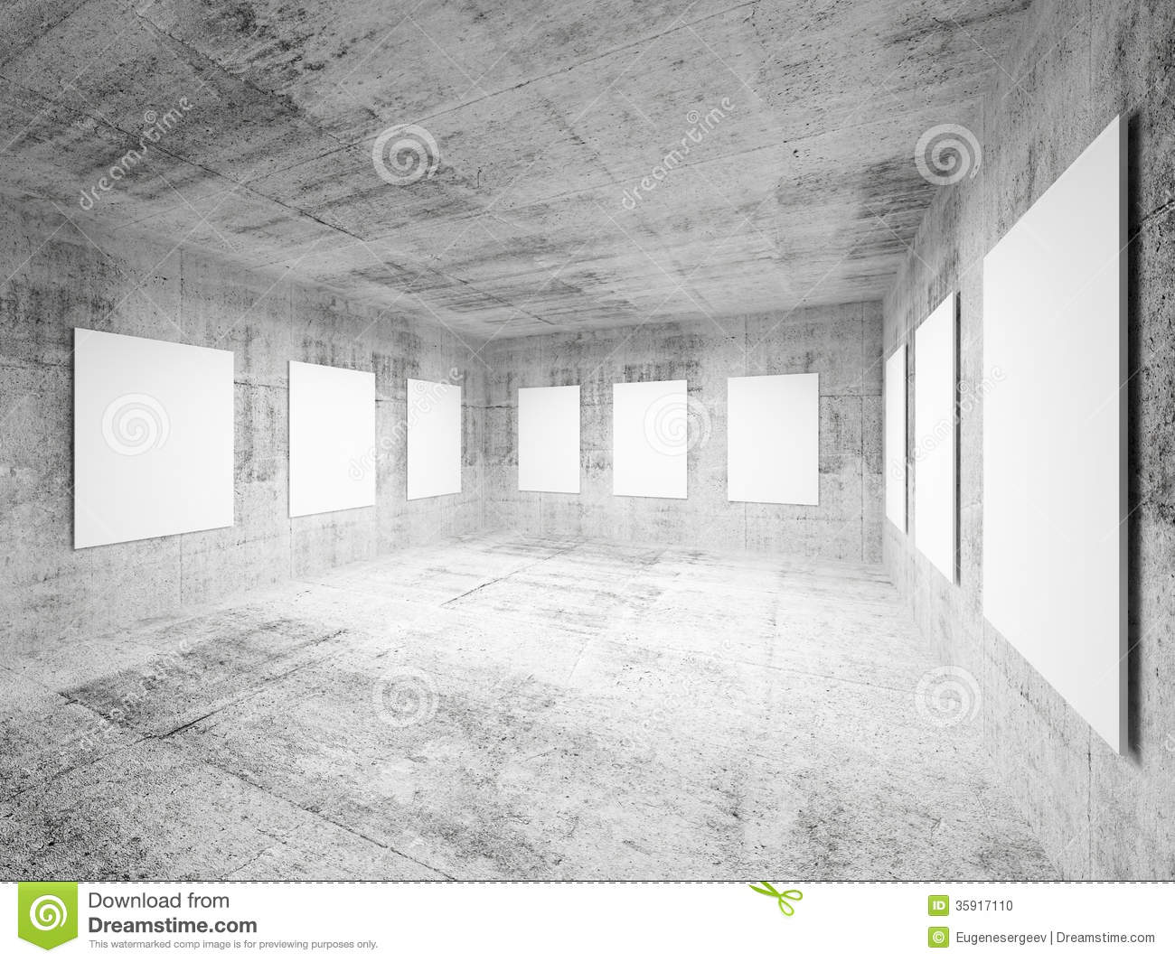 Empty art gallery concrete hall interior stock photo for Drawing hall interior