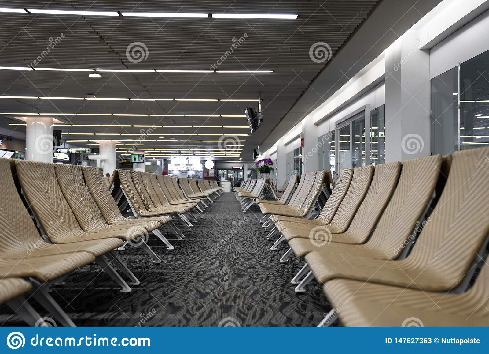 Empty artificial rattan seater in the airport / waiting lounge airport / artificial rattan material / travel passenger concept