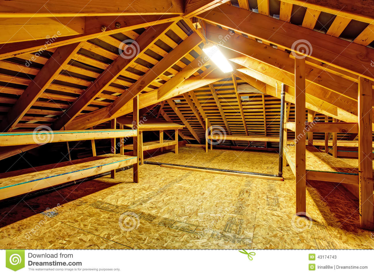 attic truss storage ideas - Empty Attic With Storage Shelves Stock Image