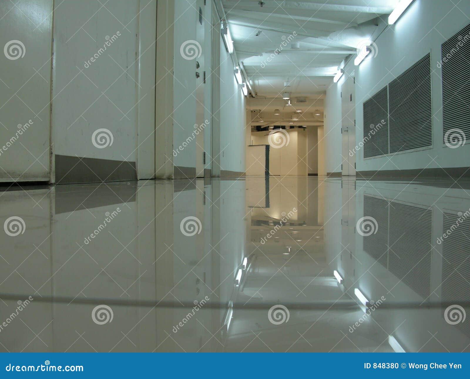 Empty basement corridor