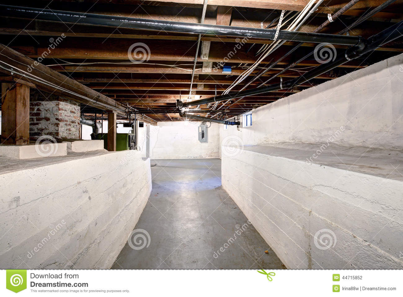 empty basement in old house with white walls stock photo image