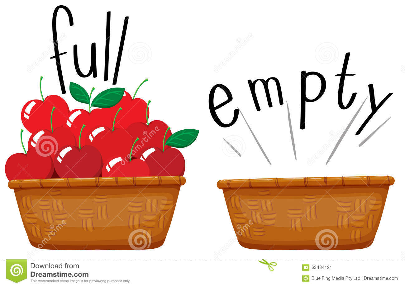 Worksheet Full And Empty opposite adjective full and empty stock vector image 63433771 basket of apples image