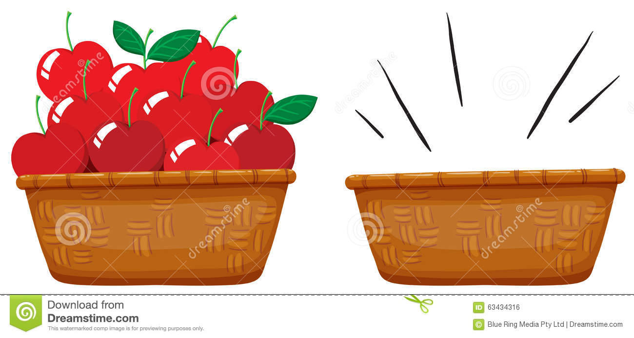 Empty Basket And Basket Full Of Apples Stock Vector ...