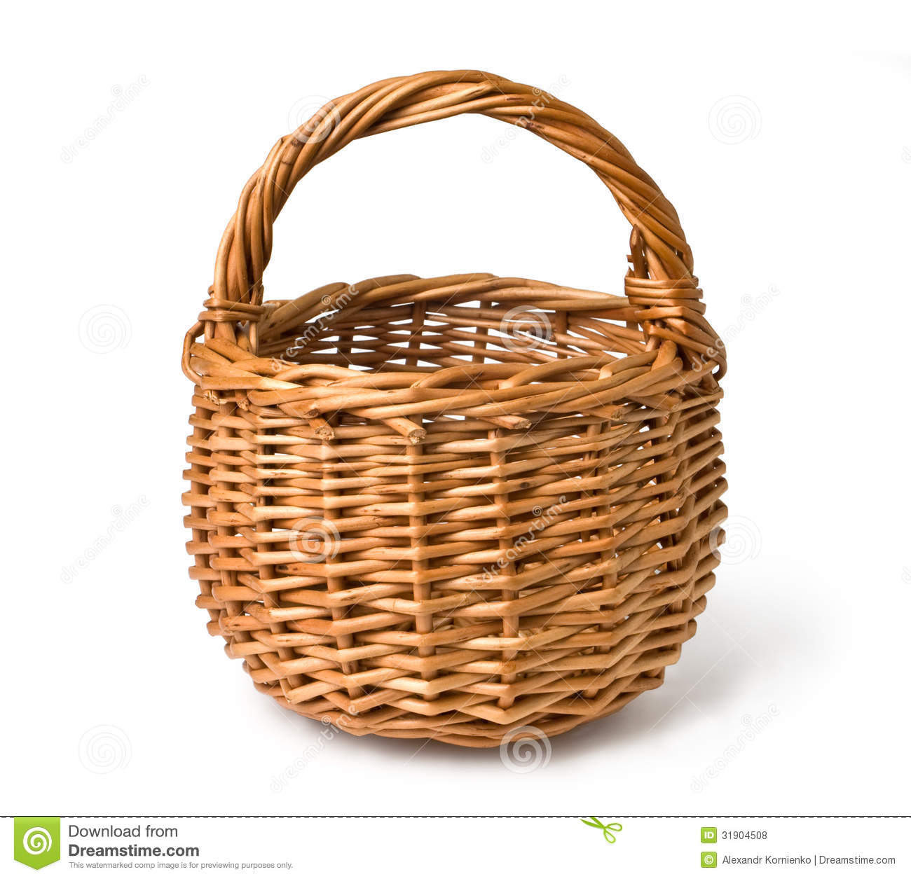 Empty wicker basket isolated on white with clipping path.