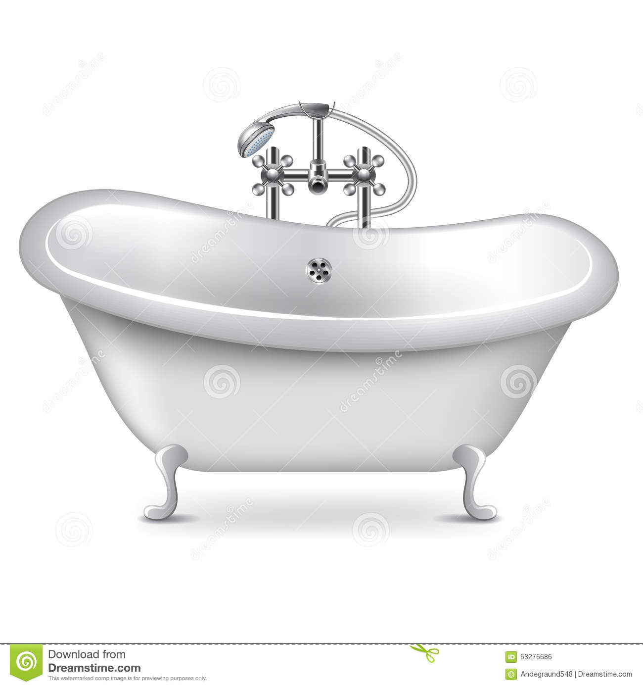 Empty Bath On White Vector Stock Vector. Illustration Of